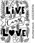 live  laugh  love with floral... | Shutterstock .eps vector #633230456
