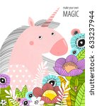 vector poster with a unicorn in ... | Shutterstock .eps vector #633237944