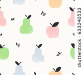 seamless pattern with apples ... | Shutterstock .eps vector #633240533
