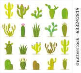 cactus collection in vector... | Shutterstock .eps vector #633242819