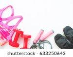 flat lay of female sport... | Shutterstock . vector #633250643
