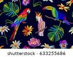 tropical summer night. seamless ... | Shutterstock .eps vector #633255686