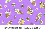 vector hand drawn ice cream... | Shutterstock .eps vector #633261350