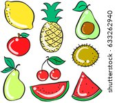 collection stock of fruits... | Shutterstock .eps vector #633262940