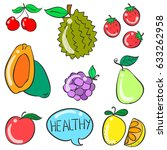collection stock of fruit... | Shutterstock .eps vector #633262958