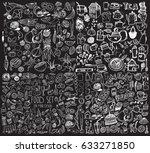 hand drawn food elements. set... | Shutterstock .eps vector #633271850