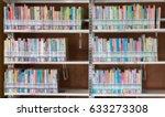 books on bookshelf in library...   Shutterstock . vector #633273308