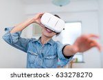 woman looking with virtual... | Shutterstock . vector #633278270