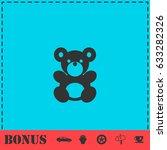 teddy bear icon flat. simple... | Shutterstock . vector #633282326