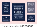 wedding invitation design set... | Shutterstock .eps vector #633288083