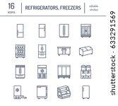 refrigerators flat line icons.... | Shutterstock .eps vector #633291569