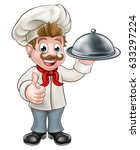 cartoon chef or baker holding a ... | Shutterstock .eps vector #633297224