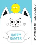 cat holding happy easter text... | Shutterstock . vector #633302270