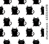 black sitting cat head with paw ... | Shutterstock . vector #633314498