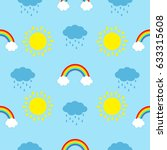 cute cartoon kawaii sun  cloud... | Shutterstock . vector #633315608