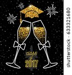 graduations greeting card 2017... | Shutterstock .eps vector #633321680