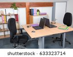 Small photo of Offices with laptops desk are empty employees are absent