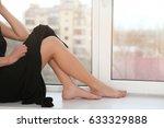 beautiful young woman sitting... | Shutterstock . vector #633329888