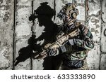 army ranger moving along the... | Shutterstock . vector #633333890