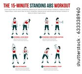 15 minute standing abs workout. ... | Shutterstock .eps vector #633338960