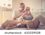 older couple drinking coffee in ... | Shutterstock . vector #633339038