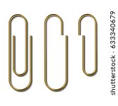 metal gold paperclips isolated... | Shutterstock .eps vector #633340679