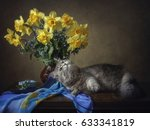 Floral Still Life With Cat