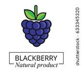 cartoon blackberry label vector | Shutterstock .eps vector #633345320