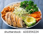 buddha bowl with kale salad ... | Shutterstock . vector #633354224