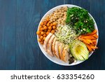 buddha bowl with kale salad ... | Shutterstock . vector #633354260