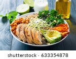 buddha bowl with kale salad ... | Shutterstock . vector #633354878
