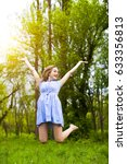 happy woman jumping with her...   Shutterstock . vector #633356813