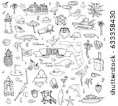 hand drawn doodle florida icons ... | Shutterstock .eps vector #633358430