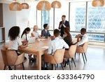 businessman stands to address... | Shutterstock . vector #633364790