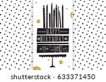 birthday card with cake and... | Shutterstock .eps vector #633371450