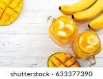 mango juice. summer drink with... | Shutterstock . vector #633377390
