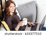 beautiful young woman relaxing... | Shutterstock . vector #633377510
