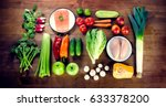 balanced diet. healthy food... | Shutterstock . vector #633378200