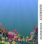 a beautiful underwater scene  a ... | Shutterstock .eps vector #633383450