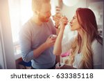 beautiful couple having fun and ... | Shutterstock . vector #633385118