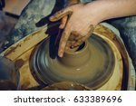 woman potter works with clay on ... | Shutterstock . vector #633389696