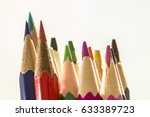 colorful pencils on a white...   Shutterstock . vector #633389723