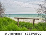 A Simple Wooden Bench On The...