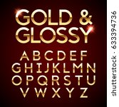 gold and glossy shining font ... | Shutterstock .eps vector #633394736