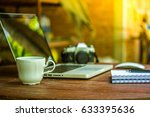 home office in the garden at... | Shutterstock . vector #633395636