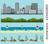 set of pixel landscape elements ... | Shutterstock .eps vector #633402803