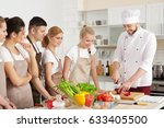 male chef and group of people... | Shutterstock . vector #633405500