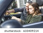 a teen learning to drive or... | Shutterstock . vector #633409214