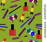 seamless pattern with makeup... | Shutterstock .eps vector #633420524