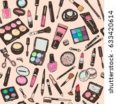 hand drawing colorful cosmetics ... | Shutterstock .eps vector #633420614